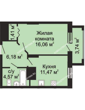 1 комнатная квартира 41,56 м² в ЖК Солнечный, дом № 5 - Гелиос