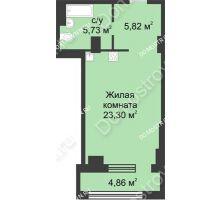 Студия 37,36 м² в ЖК Караваиха, дом № 5 - планировка