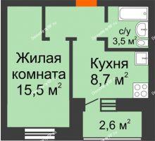 1 комнатная квартира 33,2 м² в ЖК Видный, дом № 2