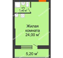 Студия 32,6 м² в ЖК Сиреневый квартал, дом Секция 3 - планировка