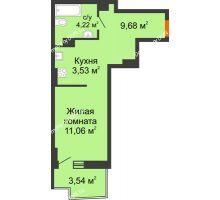 Студия 29,65 м² в ЖК Сердце Ростова 2, дом Литер 8 - планировка